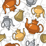 Seamless pattern with bottles and kettles Royalty Free Stock Photography