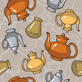 Seamless pattern with bottles and kettles Stock Photography