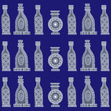 Seamless pattern with bottles. Seamless stylized abstract pattern (background) with bottles silhouette.  Texture with  bottles Royalty Free Stock Photography