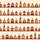 Seamless pattern with bottles. Vector illustration Stock Photos