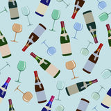 Seamless pattern bottles of wine and  glasses Stock Photography