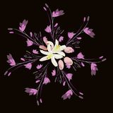 Seamless pattern with bouquet of abstract lilies flowers on black background. For web design Stock Photo