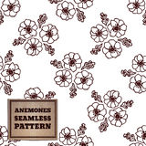 Seamless pattern with bouquet of anemones Stock Photography