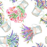 A seamless pattern with a bouquet of the beautiful wildflowers in a rustic jars Royalty Free Stock Image