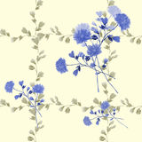 Seamless pattern of bouquet with blue flowers in frame of beige branches on a yellow background. Watercolor Royalty Free Stock Photo