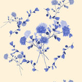 Seamless pattern of bouquet with blue flowers in frame of blue branches on a beige background. Watercolor Stock Photos
