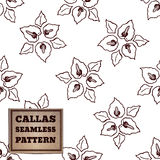 Seamless pattern with bouquet of callas Royalty Free Stock Images
