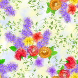 Seamless pattern with a bouquet of flowers  on a light  backgrou Royalty Free Stock Photography