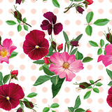 Seamless pattern, bouquet of pink roses and purple pansy Royalty Free Stock Photography