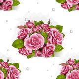 Seamless pattern of bouquet of pink roses Royalty Free Stock Image