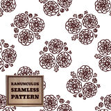 Seamless pattern with bouquet of ranunculuses Stock Photos