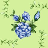 Romantic floral seamless  pattern bouquet rose blue flowers and. Seamless  pattern bouquet rose blue flowers and plant watercolor gouache hand draw Romantic Stock Photos