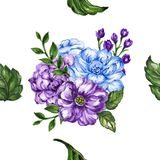 Seamless  pattern bouquet rose blue purple flowers and plant. Watercolor gouache hand draw Romantic floral Royalty Free Stock Photo