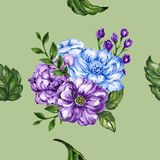Seamless  pattern bouquet rose blue purple flowers and plant. Watercolor gouache hand draw Romantic floral Royalty Free Stock Photos