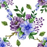 Seamless  pattern bouquet rose blue purple flowers and plant. Watercolor gouache hand draw Romantic floral Stock Photos