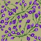 Seamless  pattern bouquet rose blue purple flowers and plant. Watercolor gouache hand draw Romantic floral Stock Image