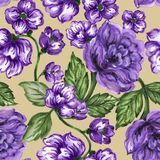 Seamless  pattern bouquet rose blue purple flowers and plant. Watercolor gouache hand draw Romantic floral Stock Photo