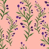 Seamless  pattern bouquet rose blue purple flowers and plant. Watercolor gouache hand draw Romantic floral Royalty Free Stock Photography