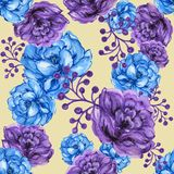 Seamless  pattern bouquet rose blue purple flowers and plant. Watercolor gouache hand draw Romantic floral Stock Images