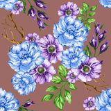 Seamless  pattern bouquet rose blue purple flowers and plant. Watercolor gouache hand draw Romantic floral Royalty Free Stock Images