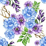 Seamless  pattern bouquet rose blue purple flowers and plant. Watercolor gouache hand draw Romantic floral Stock Photography