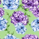 Seamless  pattern bouquet rose blue purple flowers and plant. Watercolor gouache hand draw Romantic floral Royalty Free Stock Image
