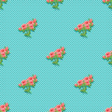 Seamless pattern with a bouquet of roses. Vibrant vintage design. Stock Images