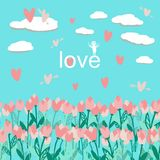 Seamless pattern with bouquet tulips with clouds and hearts vector illustration