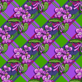 Seamless pattern bouquet of violets tied with a ribbon Royalty Free Stock Photos