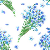Seamless pattern with the bouquets of blue forget-me-not flowers Stock Images