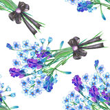 A seamless pattern with the bouquets of blue forget-me-not flowers (Myosotis) and lavender, decorated by bow Royalty Free Stock Photos