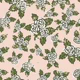 Colorful seamless pattern. Hand drawn light roses on beige background. Vintage design. Seamless pattern with bouquets of roses. Hand drawn elements Royalty Free Stock Photography