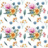 Seamless pattern with bouquets of wildflowers for a wedding vector illustration