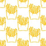 Seamless pattern of boxes of French fries Stock Image