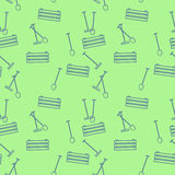 Seamless pattern with boxes and shovels for work in garden. Vector illustration. Stock Photography