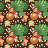 Seamless pattern boy smile hunting decorative chocolate egg under brush in easter bunny costume with ears and tail. Vector illustration, spring holiday fun Stock Photography