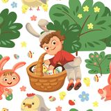 Seamless pattern boy smile hunting decorative chocolate egg under brush in easter bunny costume with ears and tail. Vector illustration, spring holiday fun Stock Photos