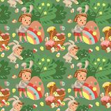 Seamless pattern boy smile hunting decorative chocolate egg under brush in easter bunny costume with ears and tail Stock Photography