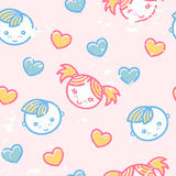 Seamless pattern with boys and girls. Seamless pattern with little boys and girls in cute childish style. Happy babyish color palette (pale pink, blue and yellow royalty free illustration