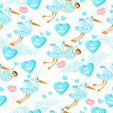 Seamless pattern for boys with stork, kiss, love, hearts and kids. stock illustration