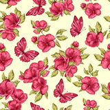 Seamless pattern with branch with pink flowers, butterfly. Royalty Free Stock Photography