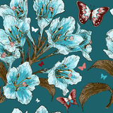 Seamless pattern with Branch of spring flower Royalty Free Stock Photos
