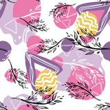 Seamless pattern with branches and abstract figures. stock illustration