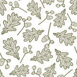 Seamless pattern of branches with acorns. And oak leaves Royalty Free Stock Images