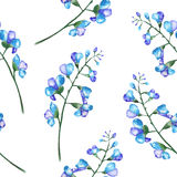 Seamless pattern with the branches of blue flowers (bluebell) Stock Images