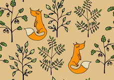 Seamless pattern with branches and foxes. Stock Photography