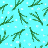 Seamless pattern of the branches of spruce and snowflakes Stock Photos