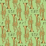 Seamless Pattern. Brass Trumpets and Notes. Seamless Vector Pattern. Brass Trumpets and Notes on a Green Background Stock Images