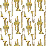 Seamless Pattern With Brass Trumpets and Trombones. Seamless Vector Pattern. Brass Trumpets and Trombones on a White Background Royalty Free Stock Image