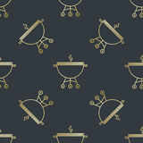 Seamless pattern with brazier or grill. Simple seamless pattern with brazier or grill Royalty Free Stock Images